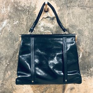 Vintage black leatherette bag with gold hardware